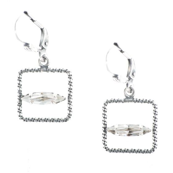 Catherine Popesco Small Square Hoop Earrings with Marquise Crystals
