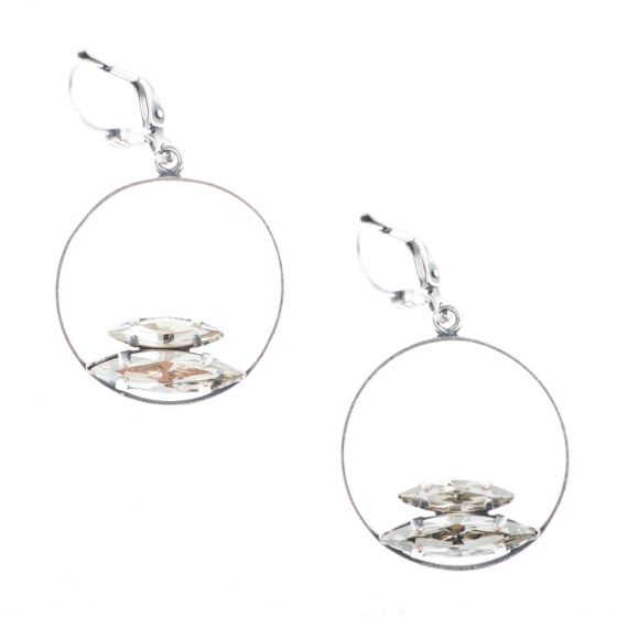 Catherine Popesco Silver Hoop with Double Marquise Crystal Earrings