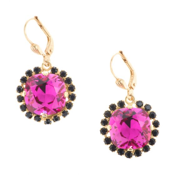 Catherine Popesco Large Stone Earrings with Jet Black Surrounding Crystals - Assorted Colors
