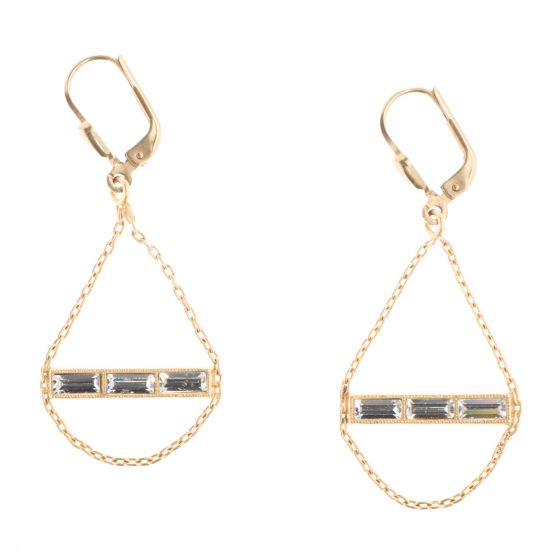 Catherine Popesco Gold Crystal Baguette Bar Earrings with Chain