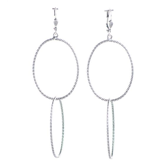 Catherine Popesco Large Silver Double Oval Hoop Earrings