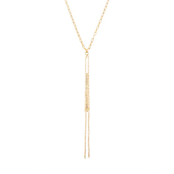 "Catherine Popesco 42"" Long Gold Chain Bar Necklace"