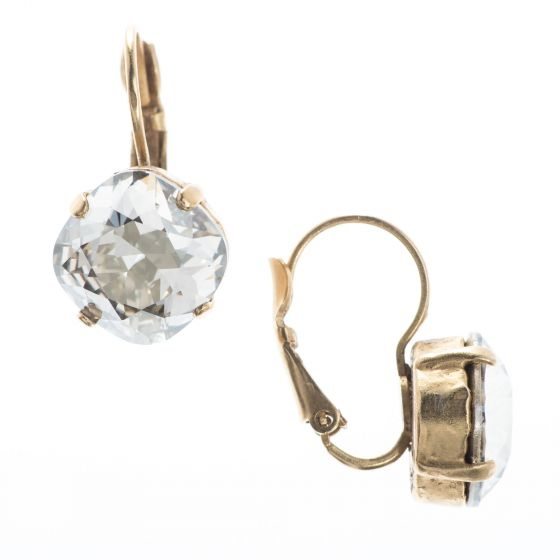 Catherine Popesco Large Stone Eurowire Hingback Crystal Earrings - Assorted Colors