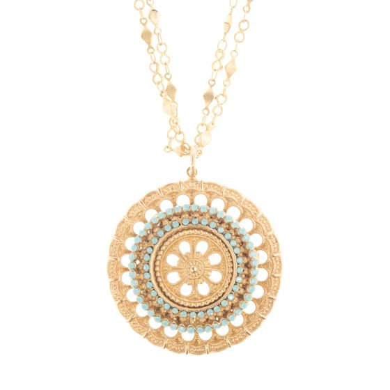 Catherine Popesco Flower Medallion Pacific Opal Crystal Necklace