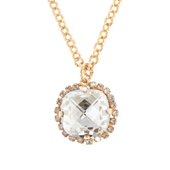 """Catherine Popesco Pillow Cut Crystal Pendant on 42"""" Long Chain - 10 Colors"""