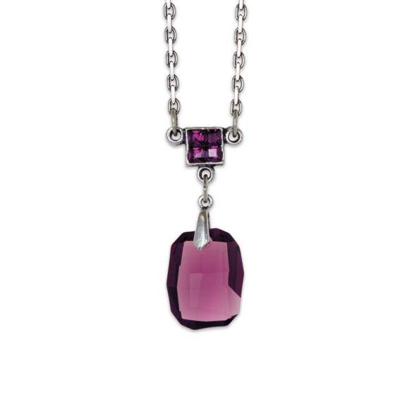 Anne Koplik Silver & Amethyst Crystal Pendant Necklace