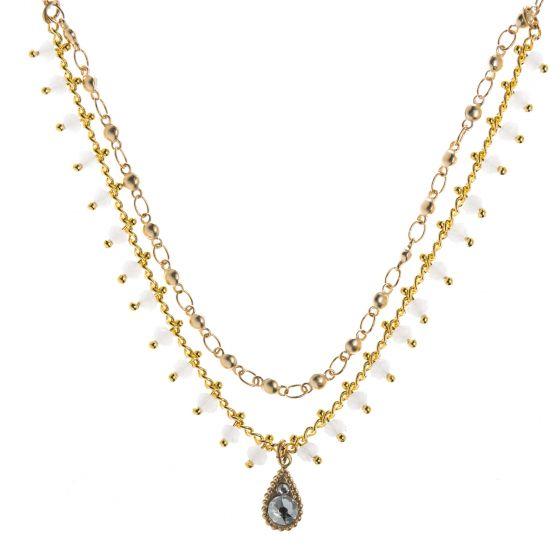 Clara Beau Exquisite 2-Tier Tear Drop Swarovski Pearl Lace Necklace