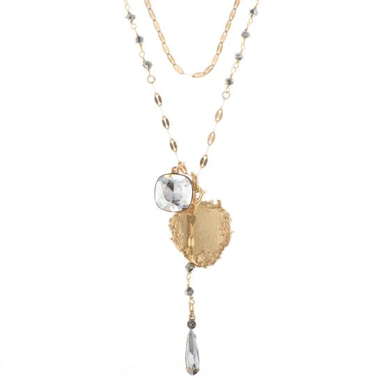 Catherine Popesco Gold Beaded Chain Crystal Drop Charm Necklace