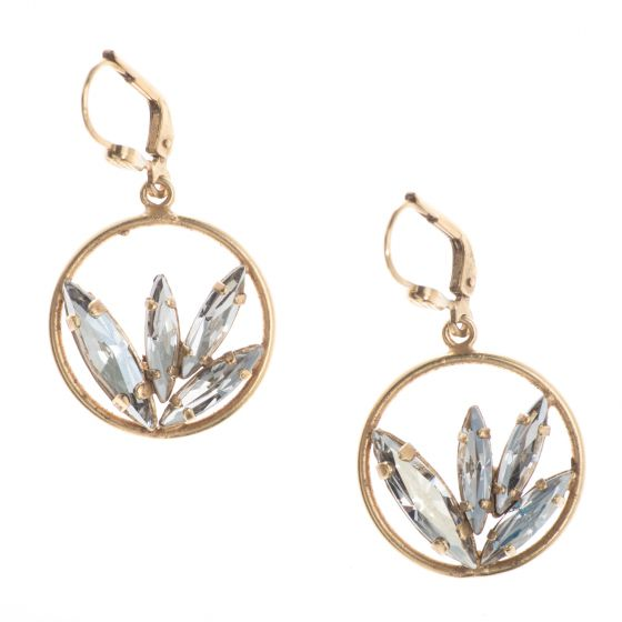 Catherine Popesco Gold Crystal Marquise Cluster Hoop Earrings