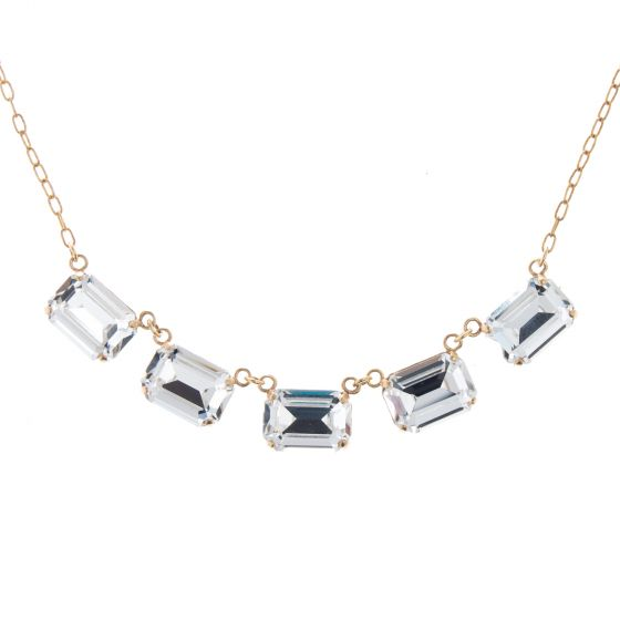 Catherine Popesco Gold Five Stone Emerald Cut Crystal Necklace