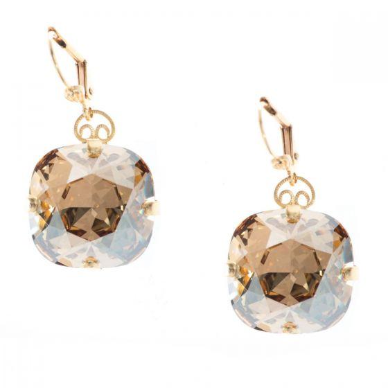 Clara Beau Gracefully Bold 18mm Swarovski Crystal Earrings - Champagne