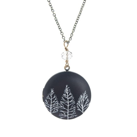 Edgy Petal Black & White Trees Crystal Locket Necklace - Long or Short