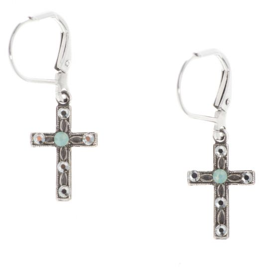 Clara Beau Silver Petite Cross Pacific Opal Crystal Dangle Earrings
