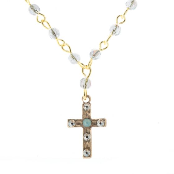 Clara Beau Gold Petite Cross Pacific Opal Crystal Beaded Necklace