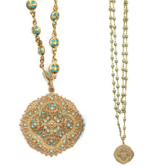 Catherine Popesco Pacific Opal Crystal and Gold Filigree Necklace - 40""