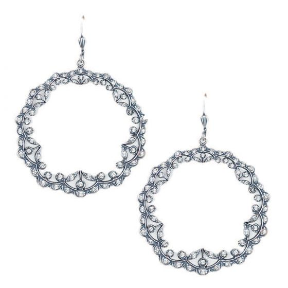 Catherine Popesco Silver Large Open Wreath Crystal Earrings