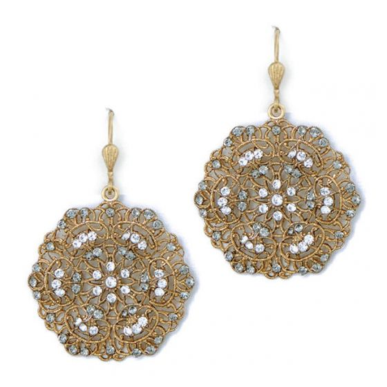 Catherine Popesco Small Lacy Crystal and Gold Round Earrings