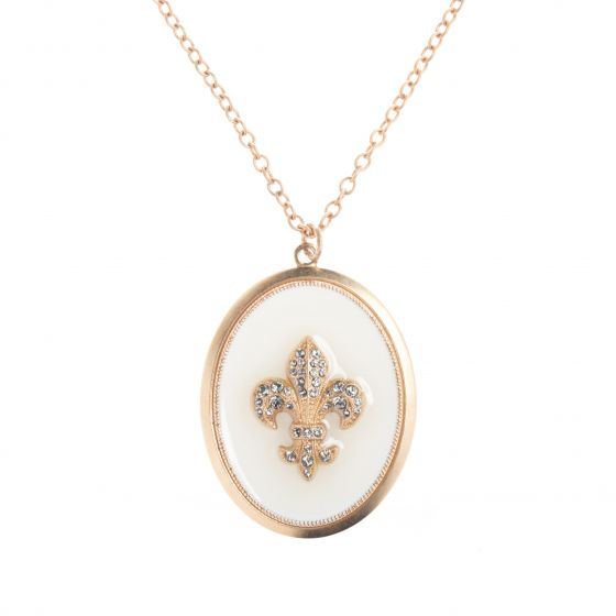Catherine Popesco Large Oval Crystal Fleur-de-Lis French Enamel Necklace
