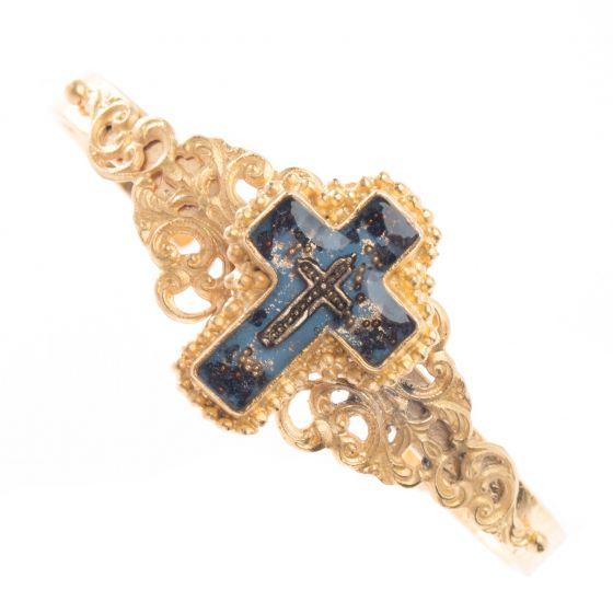 Barbosa Jewelry Enamel Cross Gold Cluster Skinny Cuff Bracelet