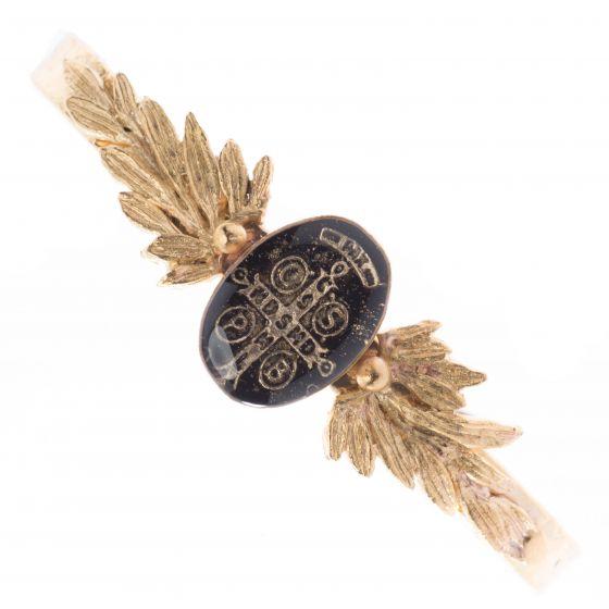 Barbosa Jewelry Black Enamel Saint Benito Cross Gold Skinny Cuff Bracelt