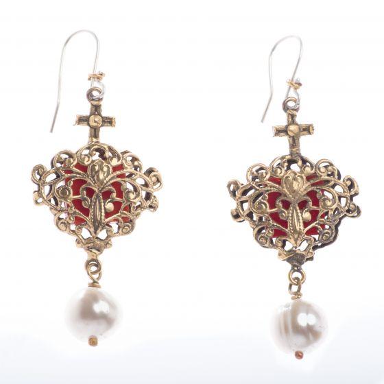 Barbosa Earrings Avant Garde Encased Red Glass with Pearl Drop