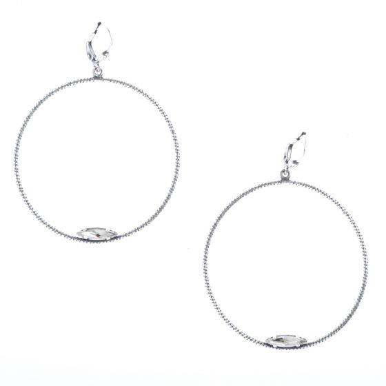 Catherine Popesco Large Silver Hoop with Marquise Crystal Earrings