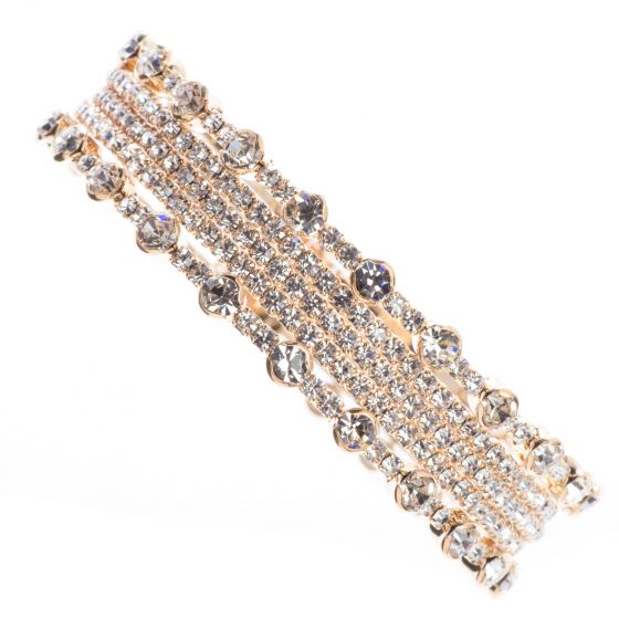 Jubilee Cuff Bracelet Studded with Bands of Small and Large Crystals in Memory Wire - Gold