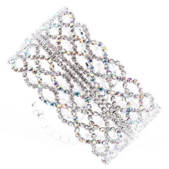 Jubilee Cuff Bracelet Braids of Irridescent Crystals in Memory Wire - Silver