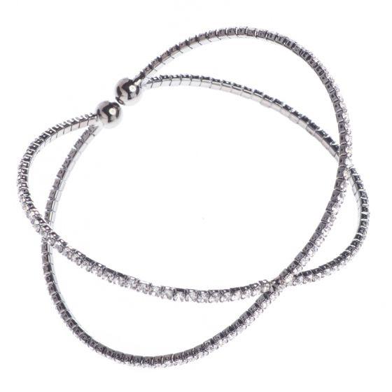 Jubilee Cuff Bracelet Clear Crystals in Helix - Gun Metal