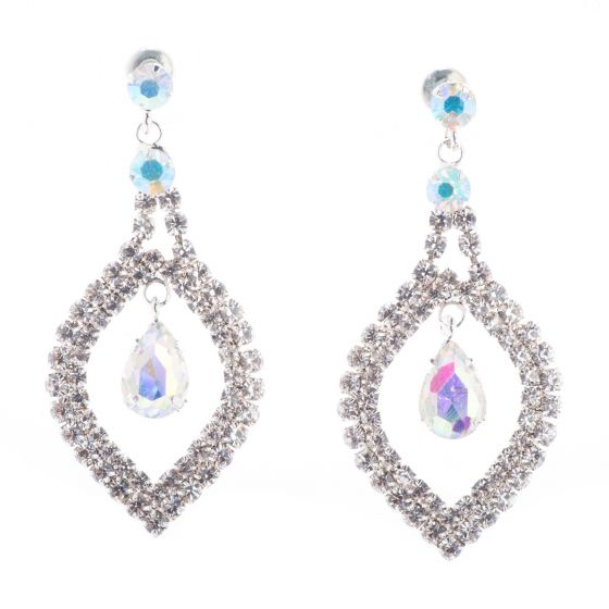 Jubilee Fancy Rhinestone Diamond Crystal Drop Earrings - Silver