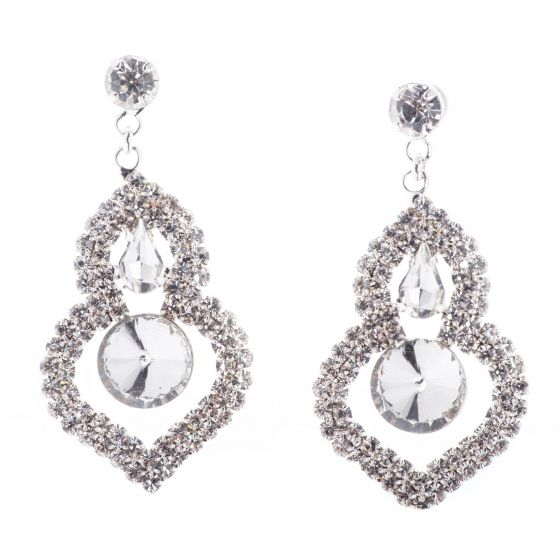 Jubilee Fancy Rhinestone Diamond Crystal Rivoli Drop Earrings - Silver