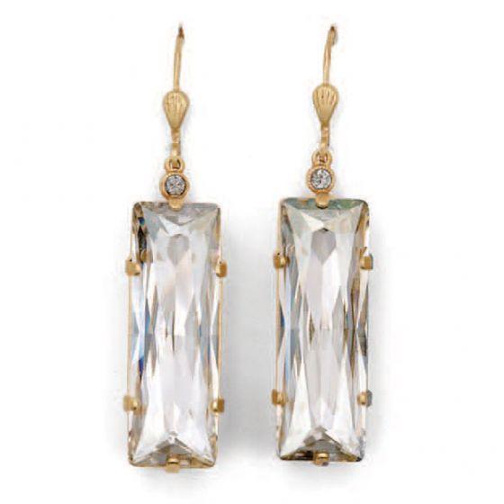 Catherine Popesco Large Long Rectangle Crystal Earrings - Shade and Gold