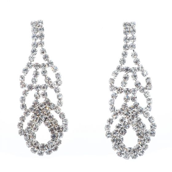Jubilee Fancy Rhinestone Diamond Crystal Braided Earrings - Silver