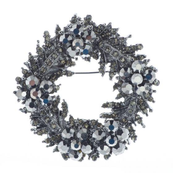 Black Diamond Hematite Wreath Pin or Pendant