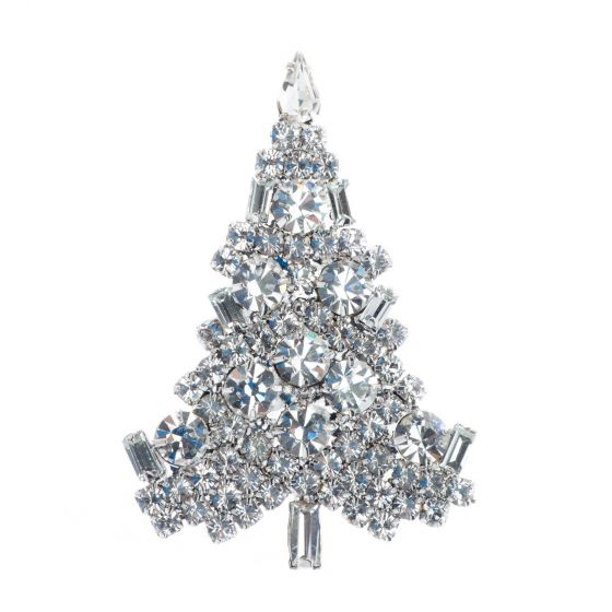 White Silver o Gold Chunky Crystals Christmas Tree Pin Brooch