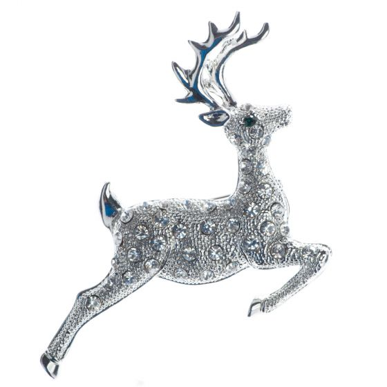 Christmas Crystal Reindeer Leaping Deer Pin Brooch - Silver or Gold