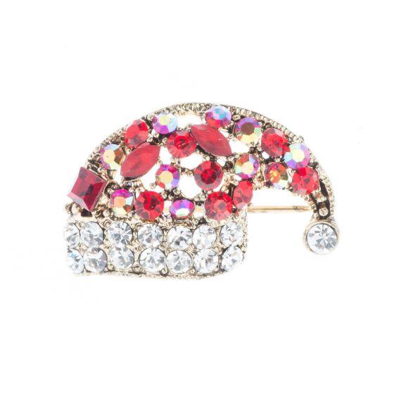 Red & AB Crystal Santa Hat Pin Christmas Brooch