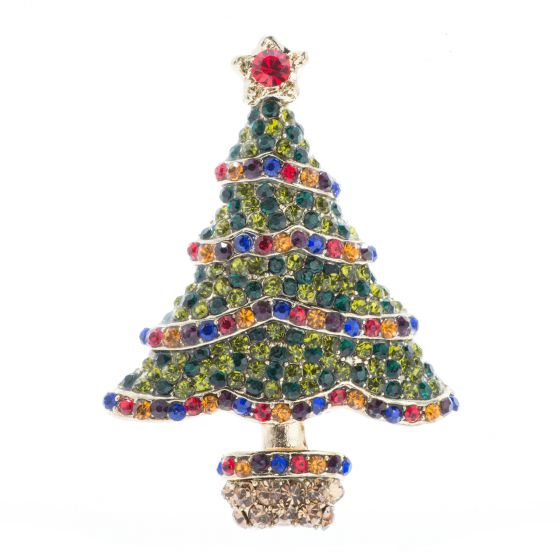 Gold Rhinestone Christmas Tree with Garlands Pin