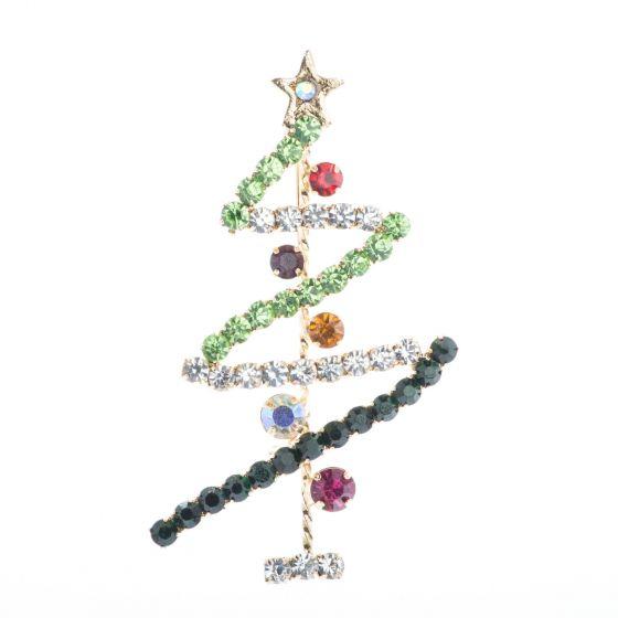 Gold Rhinestone Zig Zag Christmas Tree