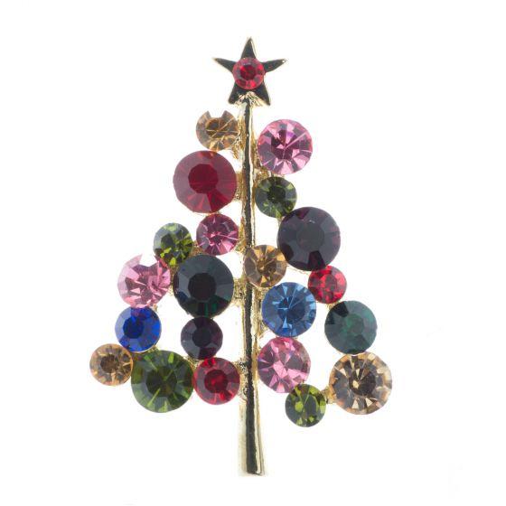 Gold Round Rhinestone Christmas Tree With Star