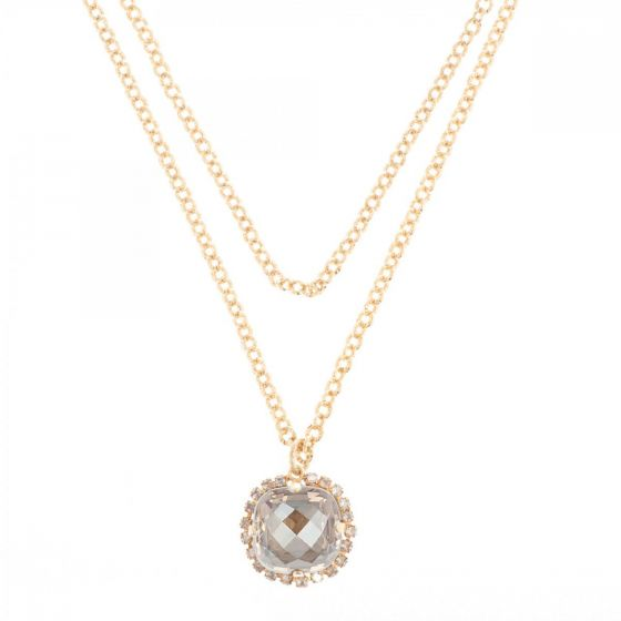"""Catherine Popesco Pillow Cut Crystal Pendant on 42"""" Long Chain - Champagne"""