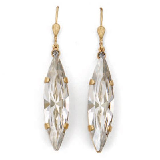 Catherine Popesco Marquise Long Crystal Earrings - Shade and Gold