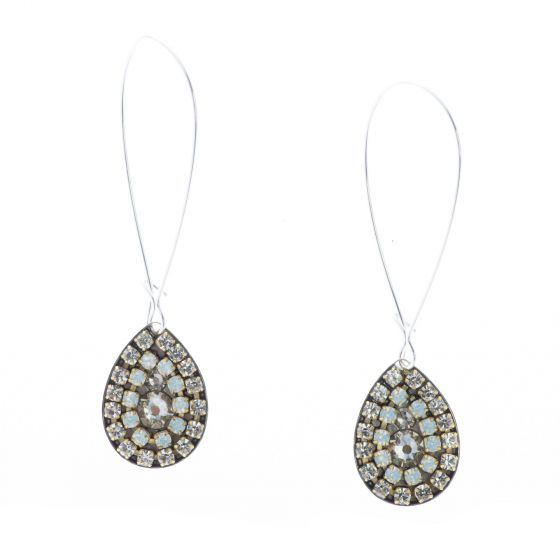 Clara Beau Classy Silver White Opal Crystal Mosaic Long Teardrop Earrings