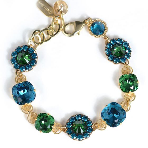 Clara Beau Jewelry Spring Gold Teal Blue & Emerald Green Crystal Bracelet