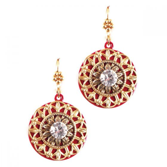 Clara Beau Jewelry Antique Gold & Red Filigree Crystal Earrings