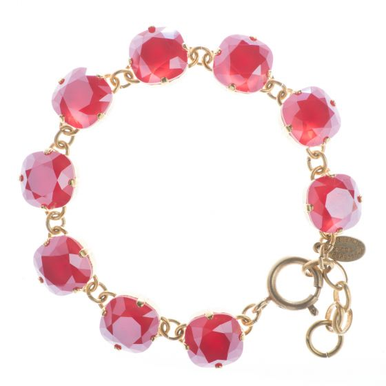 New Color! Catherine Popesco 12mm Large Stone Crystal Bracelet - Royal Red