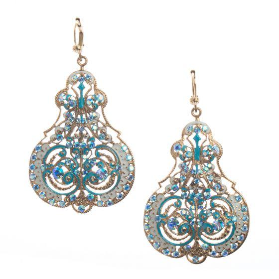 Catherine Popesco Marie Enamel Contessa Crystal Earrings - Blue & White