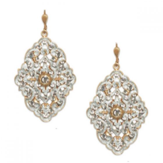 Catherine Popesco Louis Gift French Enamel Crystal Earrings - Gold & Silver