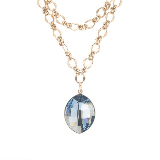 """Catherine Popesco Marquise Cut Crystal Pendant on 42"""" Long Chain"""