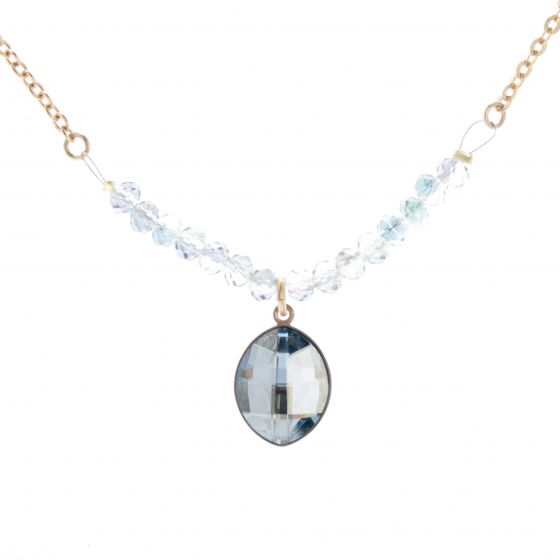 Catherine Popesco Fleur de Couleur Crystal Necklace - Blue Shade Marquise